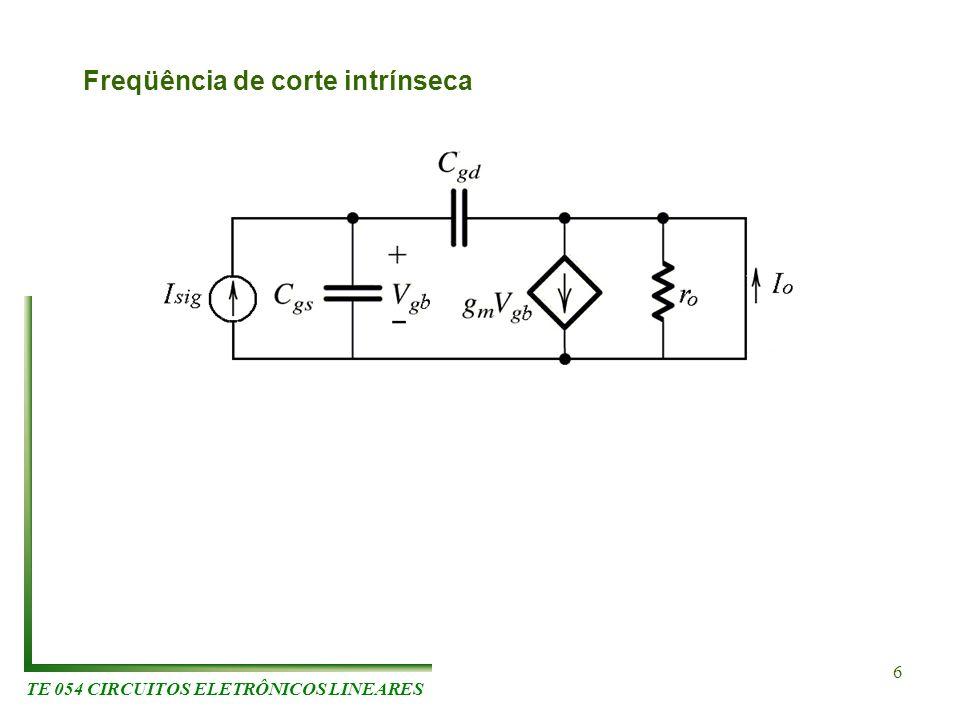 TE 054 CIRCUITOS ELETRÔNICOS LINEARES 6 Freqüência de corte intrínseca