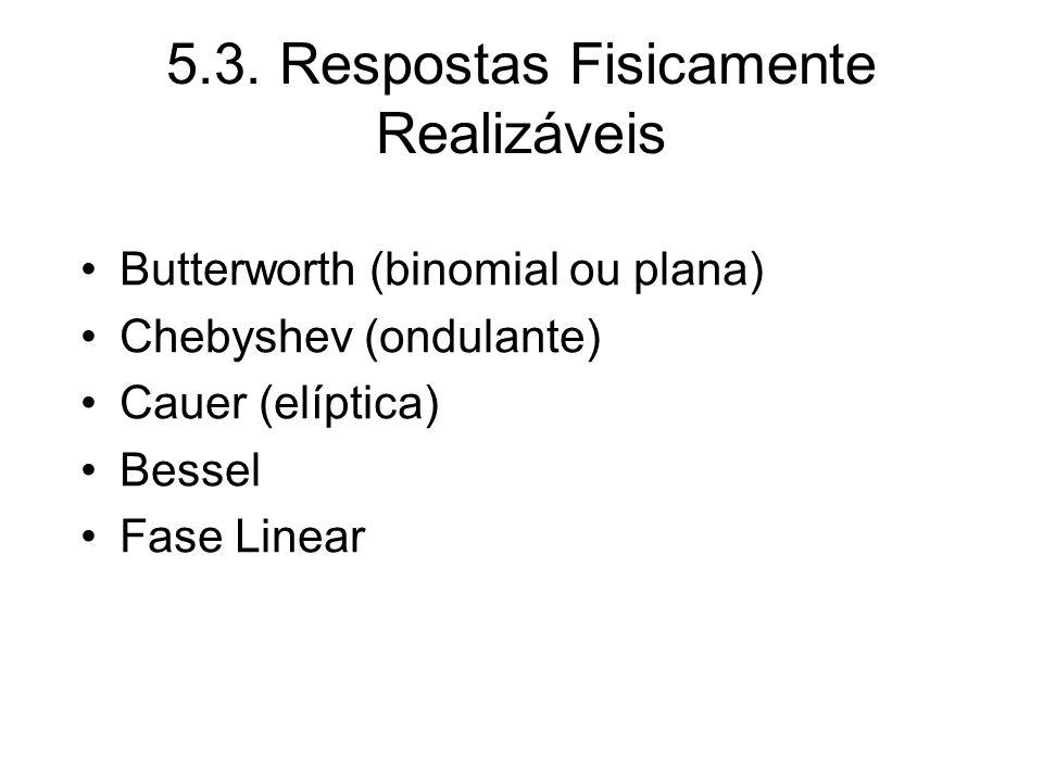 5.3. Respostas Fisicamente Realizáveis Butterworth (binomial ou plana) Chebyshev (ondulante) Cauer (elíptica) Bessel Fase Linear