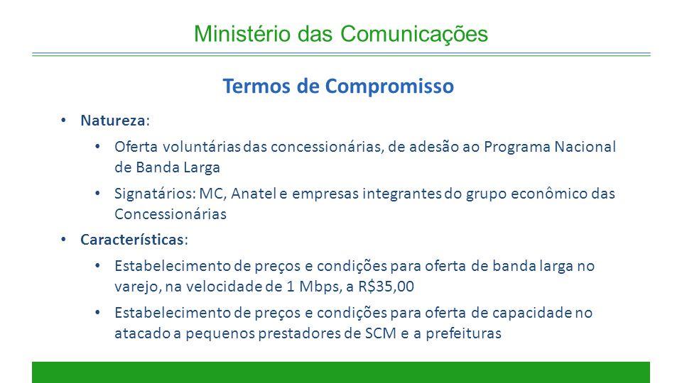 Ministério das Comunicações Termos de Compromisso Natureza: Oferta voluntárias das concessionárias, de adesão ao Programa Nacional de Banda Larga Sign