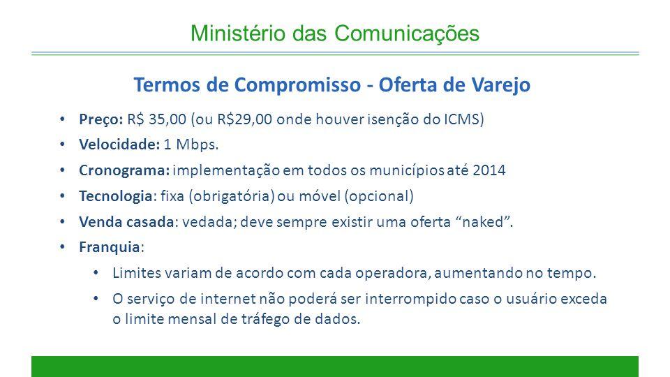 Ministério das Comunicações Termos de Compromisso - Oferta de Varejo Preço: R$ 35,00 (ou R$29,00 onde houver isenção do ICMS) Velocidade: 1 Mbps. Cron