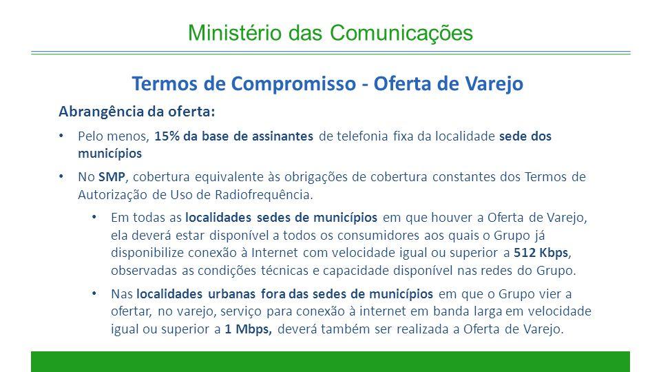 Ministério das Comunicações Termos de Compromisso - Oferta de Varejo Abrangência da oferta: Pelo menos, 15% da base de assinantes de telefonia fixa da