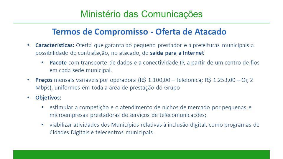 Ministério das Comunicações Termos de Compromisso - Oferta de Atacado Características: Oferta que garanta ao pequeno prestador e a prefeituras municip