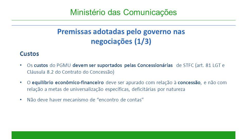 Ministério das Comunicações Premissas adotadas pelo governo nas negociações (1/3) Custos Os custos do PGMU devem ser suportados pelas Concessionárias