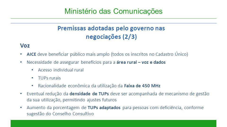 Ministério das Comunicações Premissas adotadas pelo governo nas negociações (2/3) Voz AICE deve beneficiar público mais amplo (todos os inscritos no C