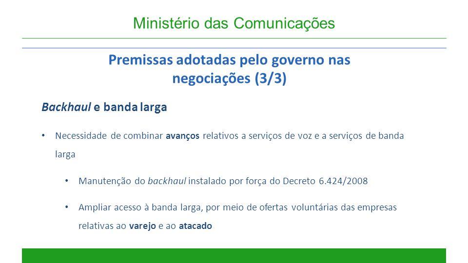 Ministério das Comunicações Premissas adotadas pelo governo nas negociações (3/3) Backhaul e banda larga Necessidade de combinar avanços relativos a s