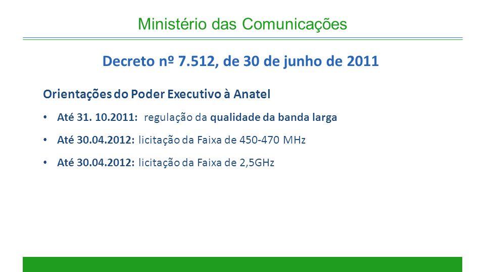 Ministério das Comunicações Decreto nº 7.512, de 30 de junho de 2011 Orientações do Poder Executivo à Anatel Até 31. 10.2011: regulação da qualidade d