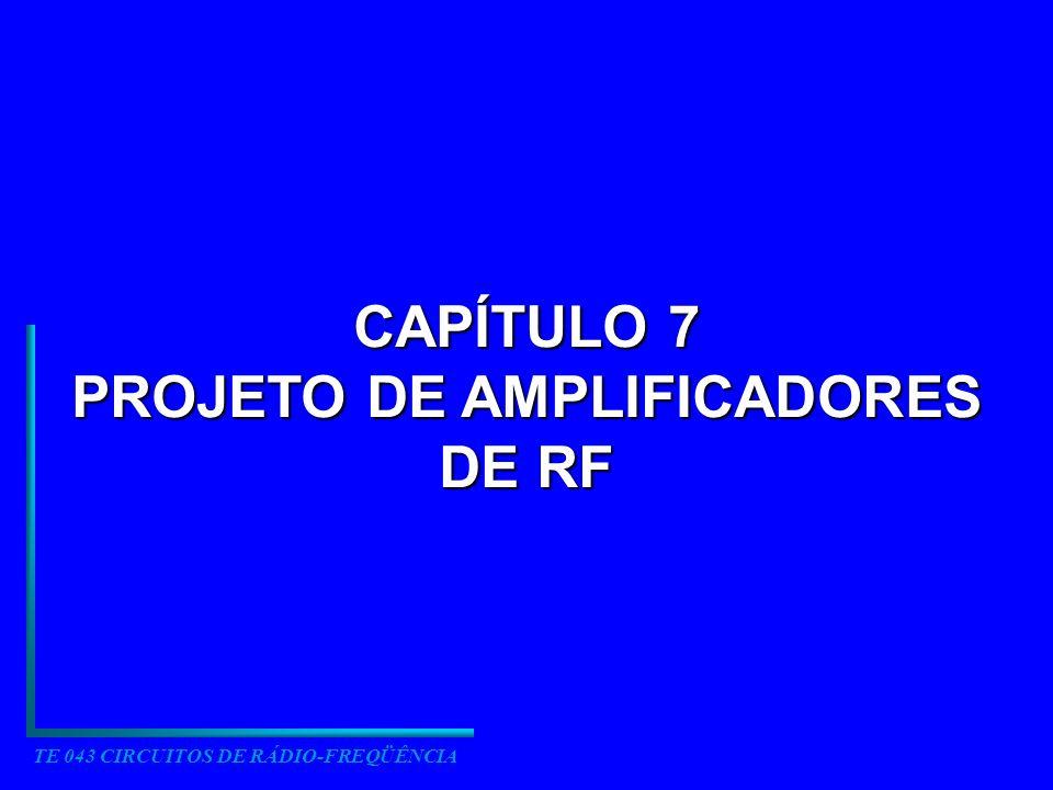 TE 043 CIRCUITOS DE RÁDIO-FREQÜÊNCIA CAPÍTULO 7 PROJETO DE AMPLIFICADORES DE RF