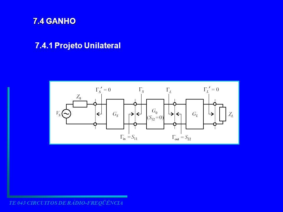 TE 043 CIRCUITOS DE RÁDIO-FREQÜÊNCIA 7.4 GANHO 7.4.1 Projeto Unilateral
