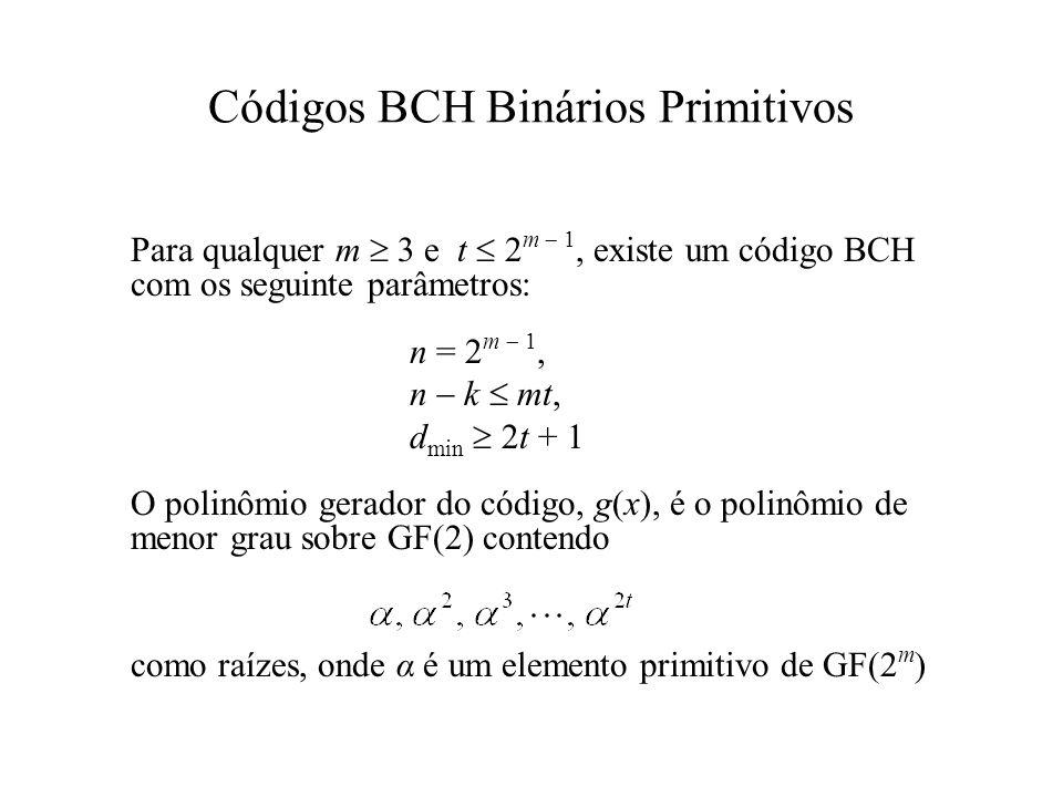 Códigos BCH Binários Primitivos Para qualquer m 3 e t 2 m 1, existe um código BCH com os seguinte parâmetros: n = 2 m 1, n k mt, d min 2t + 1 O polinô