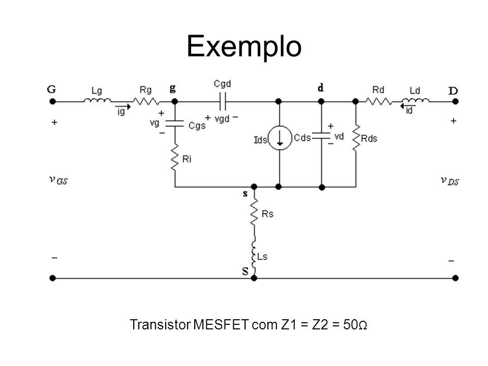 Exemplo Transistor MESFET com Z1 = Z2 = 50 Ω