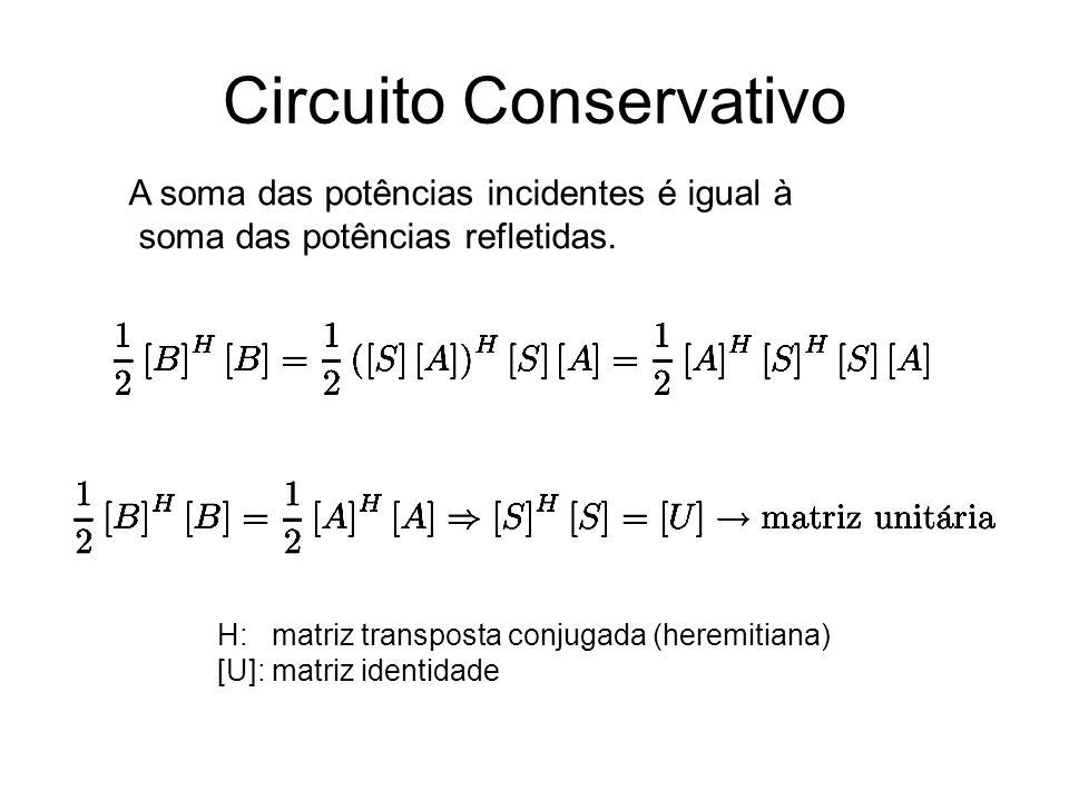Circuito Conservativo A soma das potências incidentes é igual à soma das potências refletidas. H: matriz transposta conjugada (heremitiana) [U]: matri