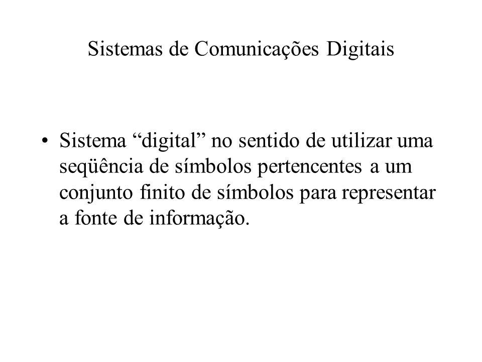 Sistemas de Comunicações Digitais Sistema digital no sentido de utilizar uma seqüência de símbolos pertencentes a um conjunto finito de símbolos para representar a fonte de informação.