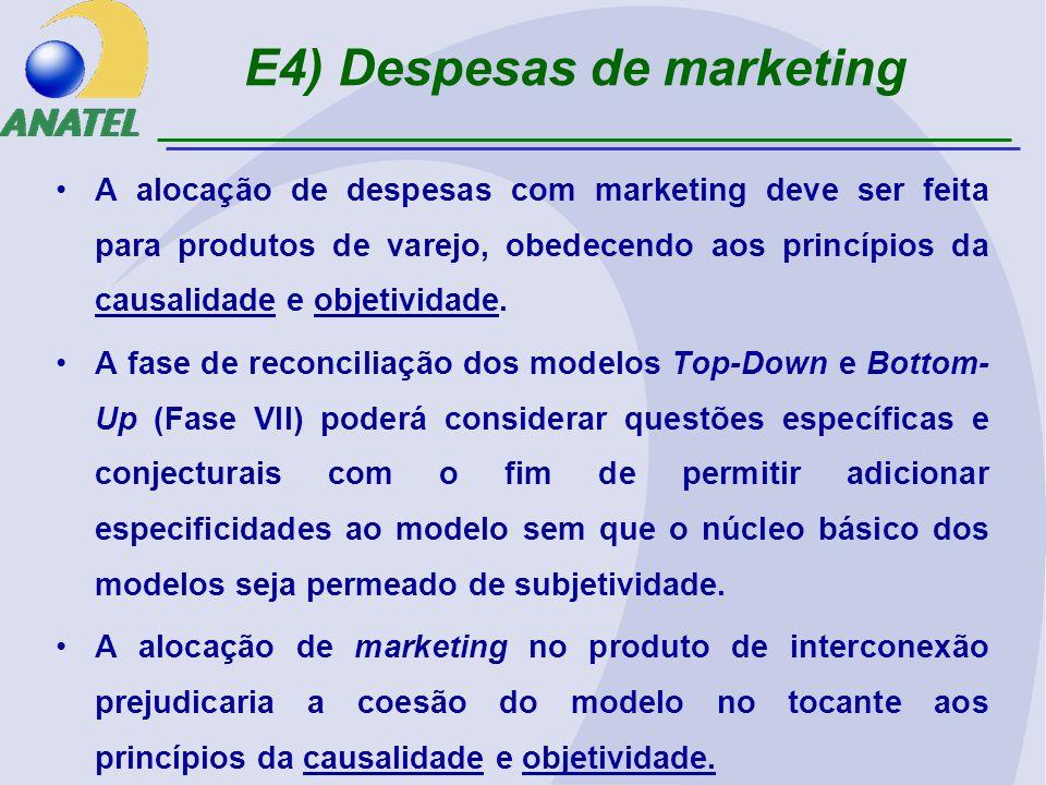 E4) Despesas de marketing A alocação de despesas com marketing deve ser feita para produtos de varejo, obedecendo aos princípios da causalidade e objetividade.