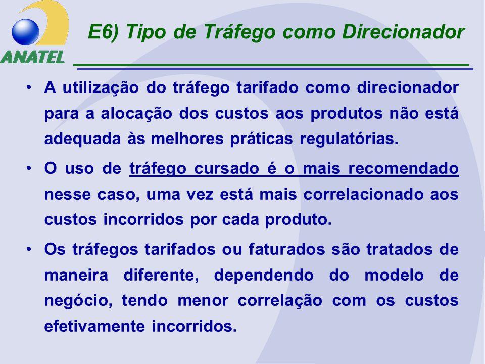E6) Tipo de Tráfego como Direcionador A utilização do tráfego tarifado como direcionador para a alocação dos custos aos produtos não está adequada às melhores práticas regulatórias.