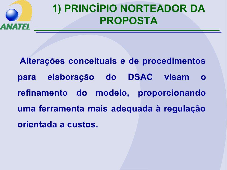 1) PRINCÍPIO NORTEADOR DA PROPOSTA Alterações conceituais e de procedimentos para elaboração do DSAC visam o refinamento do modelo, proporcionando uma ferramenta mais adequada à regulação orientada a custos.