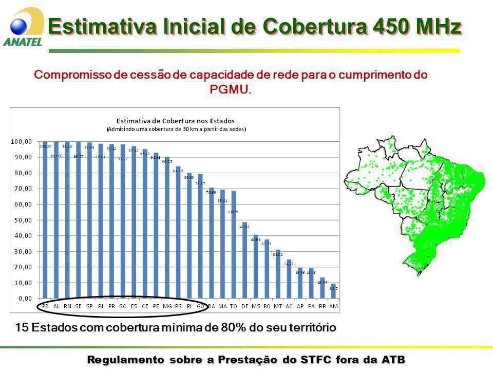 Regulamento sobre a Prestação do STFC fora da ATB Estimativa Inicial de Cobertura 450 MHz Compromisso de cessão de capacidade de rede para o cumprimento do PGMU.