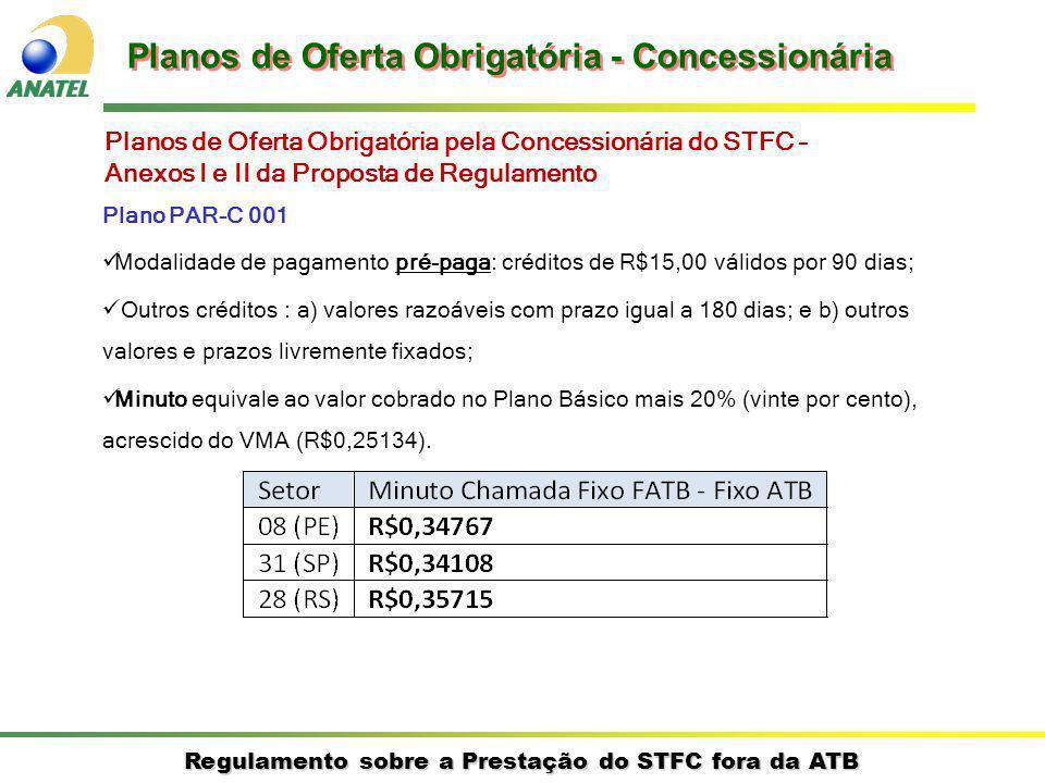 Regulamento sobre a Prestação do STFC fora da ATB Plano PAR-C 001 Modalidade de pagamento pré-paga: créditos de R$15,00 válidos por 90 dias; Outros cr