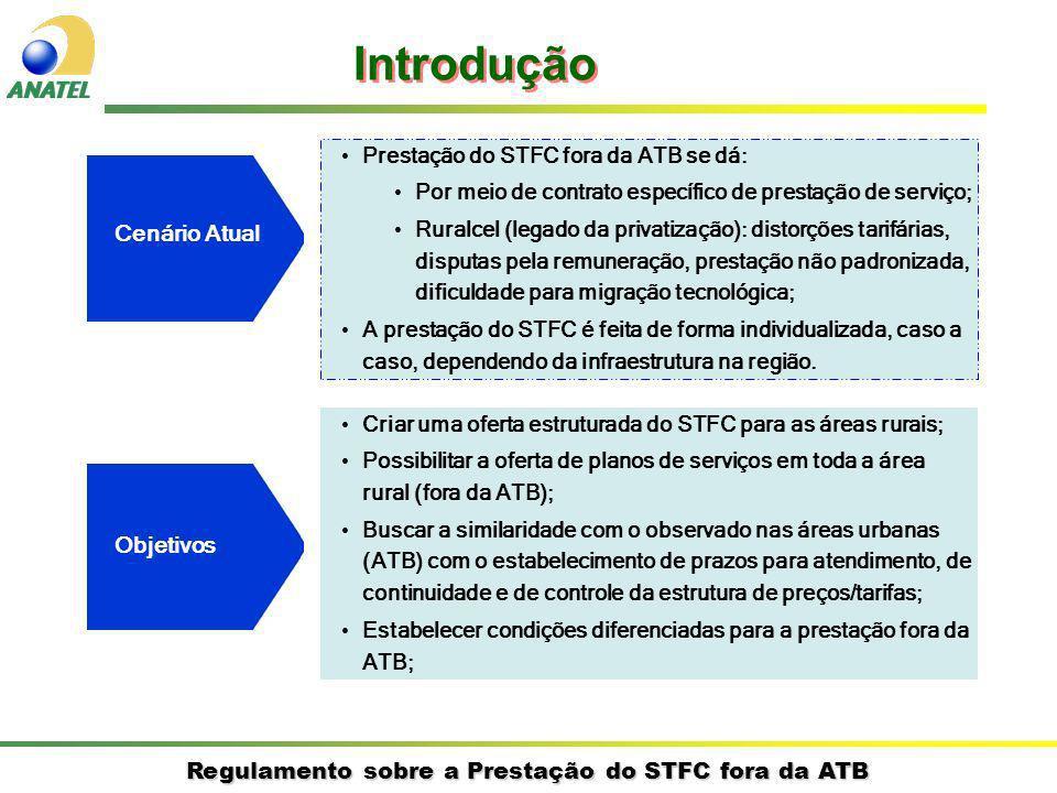 Regulamento sobre a Prestação do STFC fora da ATB Cenário Atual Prestação do STFC fora da ATB se dá: Por meio de contrato específico de prestação de s