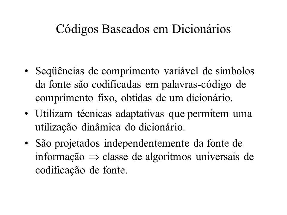 Códigos Baseados em Dicionários Seqüências de comprimento variável de símbolos da fonte são codificadas em palavras-código de comprimento fixo, obtida
