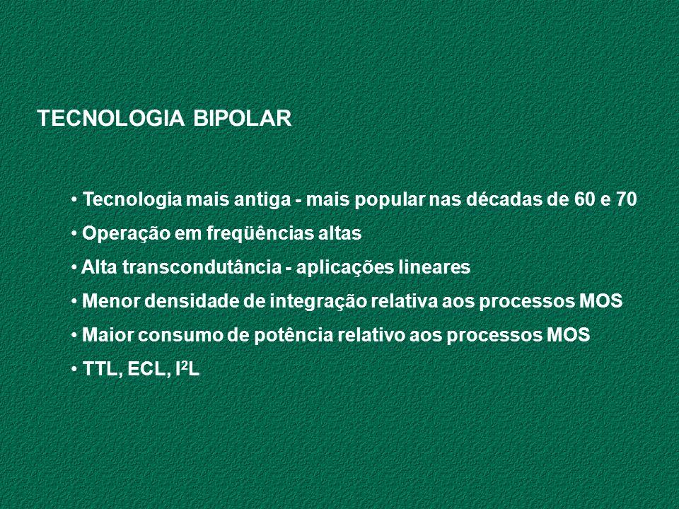 TECNOLOGIA BIPOLAR Tecnologia mais antiga - mais popular nas décadas de 60 e 70 Operação em freqüências altas Alta transcondutância - aplicações linea