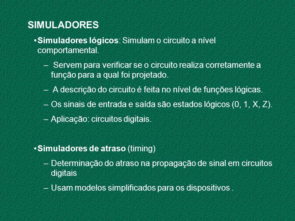 SIMULADORES Simuladores lógicos: Simulam o circuito a nível comportamental. – Servem para verificar se o circuito realiza corretamente a função para a