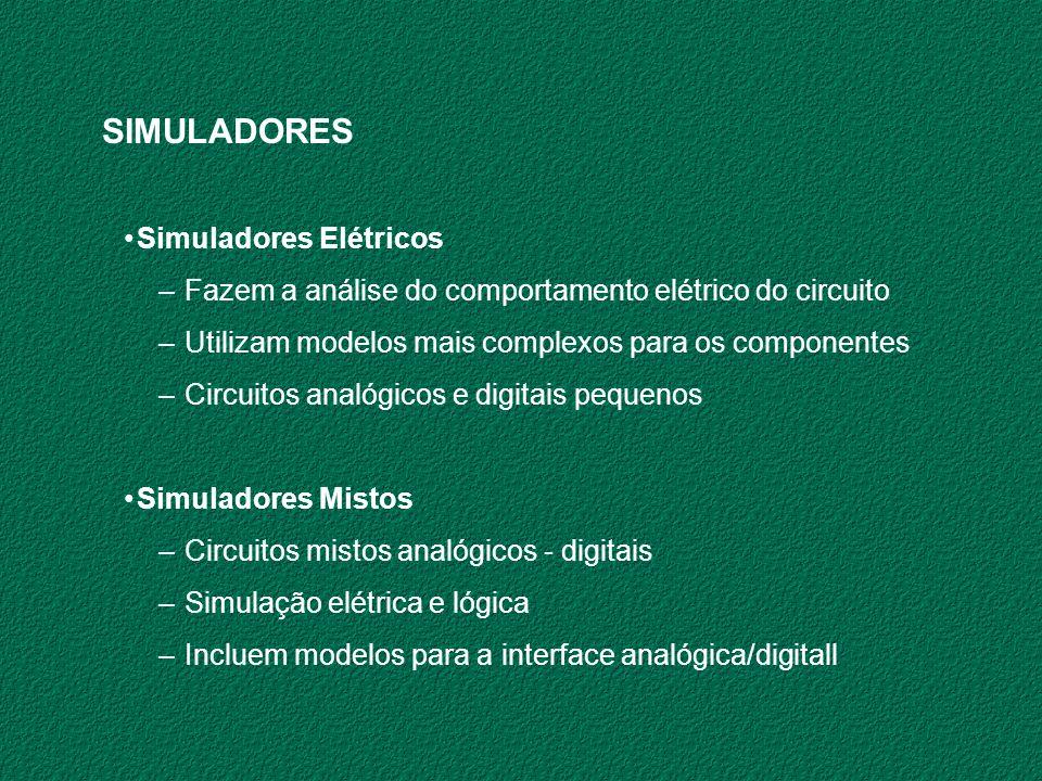 SIMULADORES Simuladores Elétricos –Fazem a análise do comportamento elétrico do circuito –Utilizam modelos mais complexos para os componentes –Circuit
