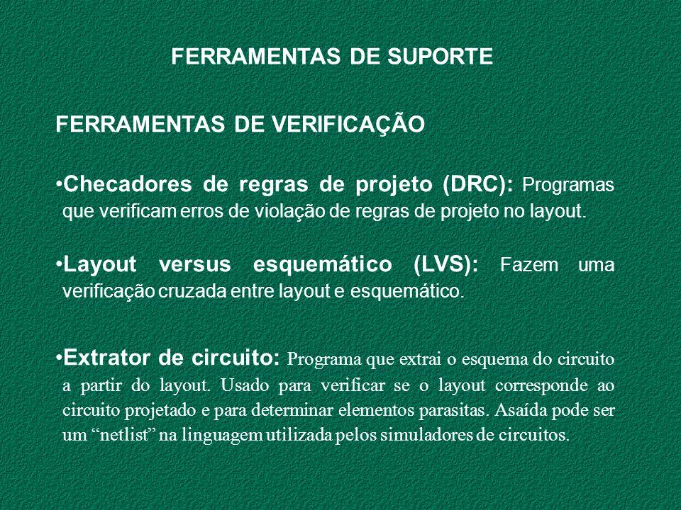FERRAMENTAS DE VERIFICAÇÃO Checadores de regras de projeto (DRC): Programas que verificam erros de violação de regras de projeto no layout. Layout ver