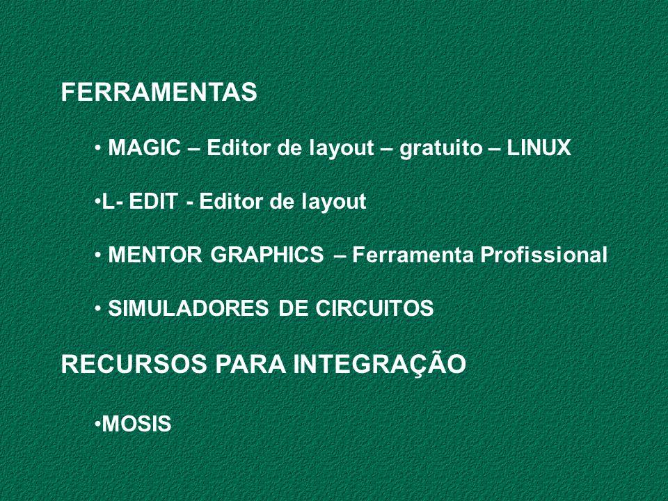 FERRAMENTAS MAGIC – Editor de layout – gratuito – LINUX L- EDIT - Editor de layout MENTOR GRAPHICS – Ferramenta Profissional SIMULADORES DE CIRCUITOS