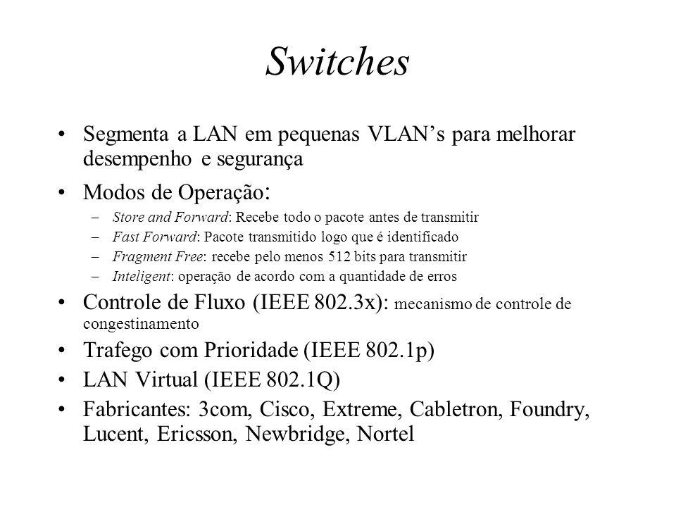 Switches Segmenta a LAN em pequenas VLANs para melhorar desempenho e segurança Modos de Operação : –Store and Forward: Recebe todo o pacote antes de t
