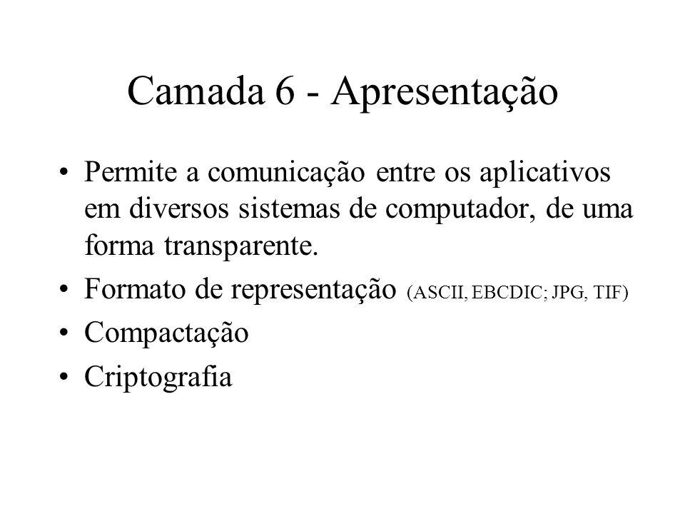 Camada 6 - Apresentação Permite a comunicação entre os aplicativos em diversos sistemas de computador, de uma forma transparente. Formato de represent