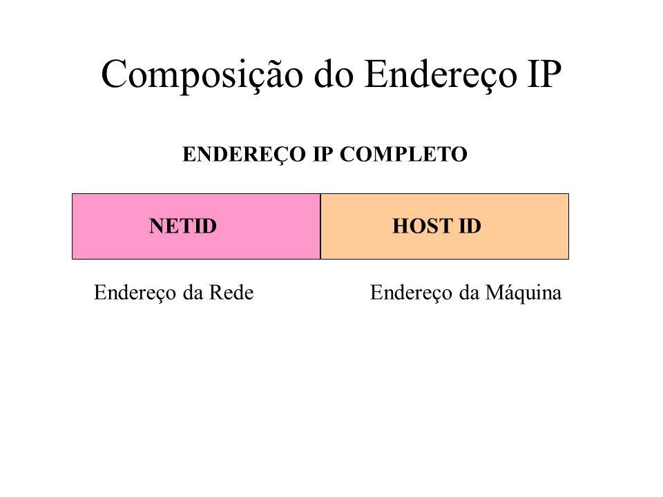 NETIDHOST ID ENDEREÇO IP COMPLETO Endereço da RedeEndereço da Máquina Composição do Endereço IP