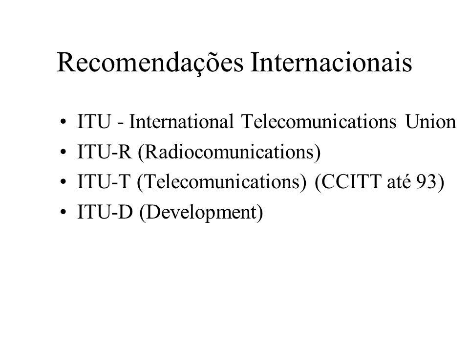 Recomendações Internacionais ITU - International Telecomunications Union ITU-R (Radiocomunications) ITU-T (Telecomunications) (CCITT até 93) ITU-D (De