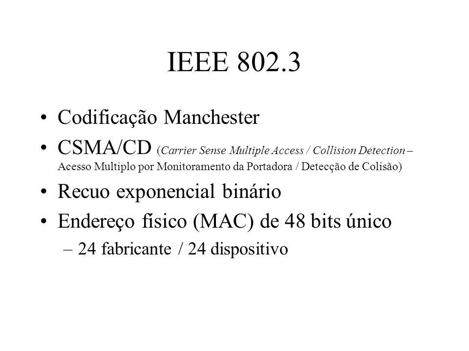 IEEE 802.3 Codificação Manchester CSMA/CD (Carrier Sense Multiple Access / Collision Detection – Acesso Multiplo por Monitoramento da Portadora / Dete