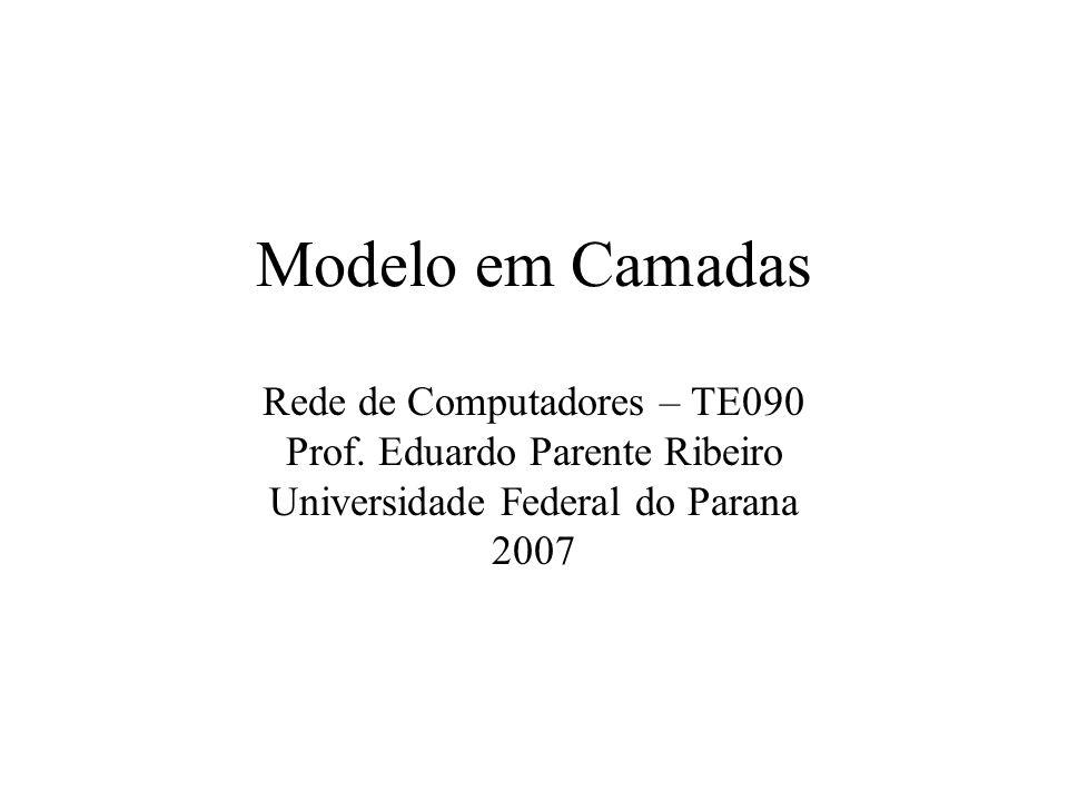 Modelo em Camadas Rede de Computadores – TE090 Prof. Eduardo Parente Ribeiro Universidade Federal do Parana 2007