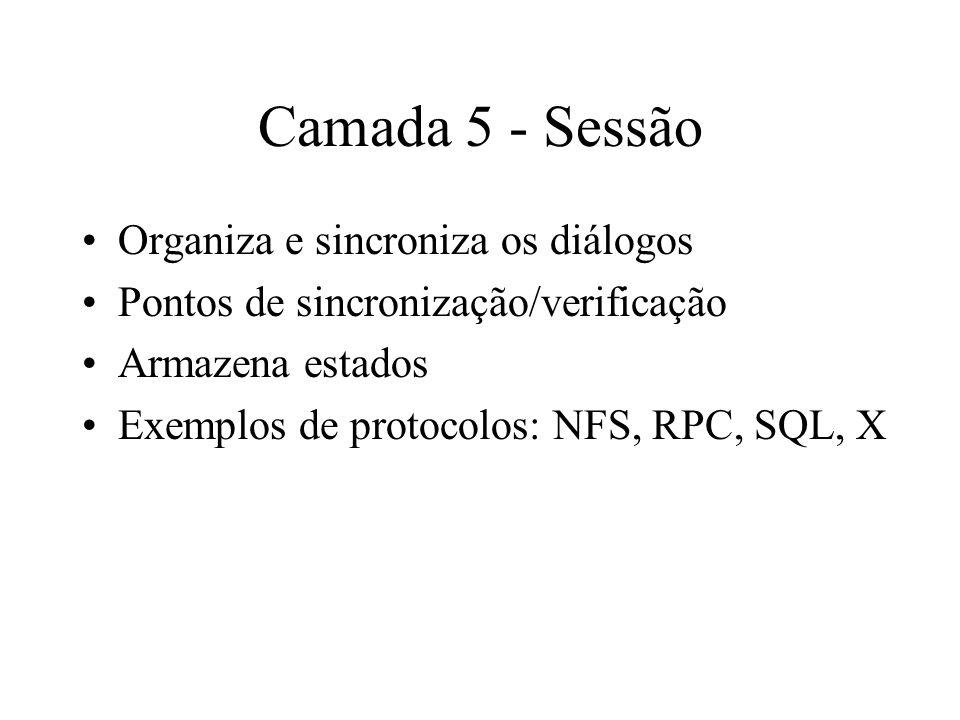 Camada 5 - Sessão Organiza e sincroniza os diálogos Pontos de sincronização/verificação Armazena estados Exemplos de protocolos: NFS, RPC, SQL, X