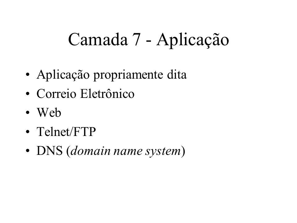 Camada 7 - Aplicação Aplicação propriamente dita Correio Eletrônico Web Telnet/FTP DNS (domain name system)