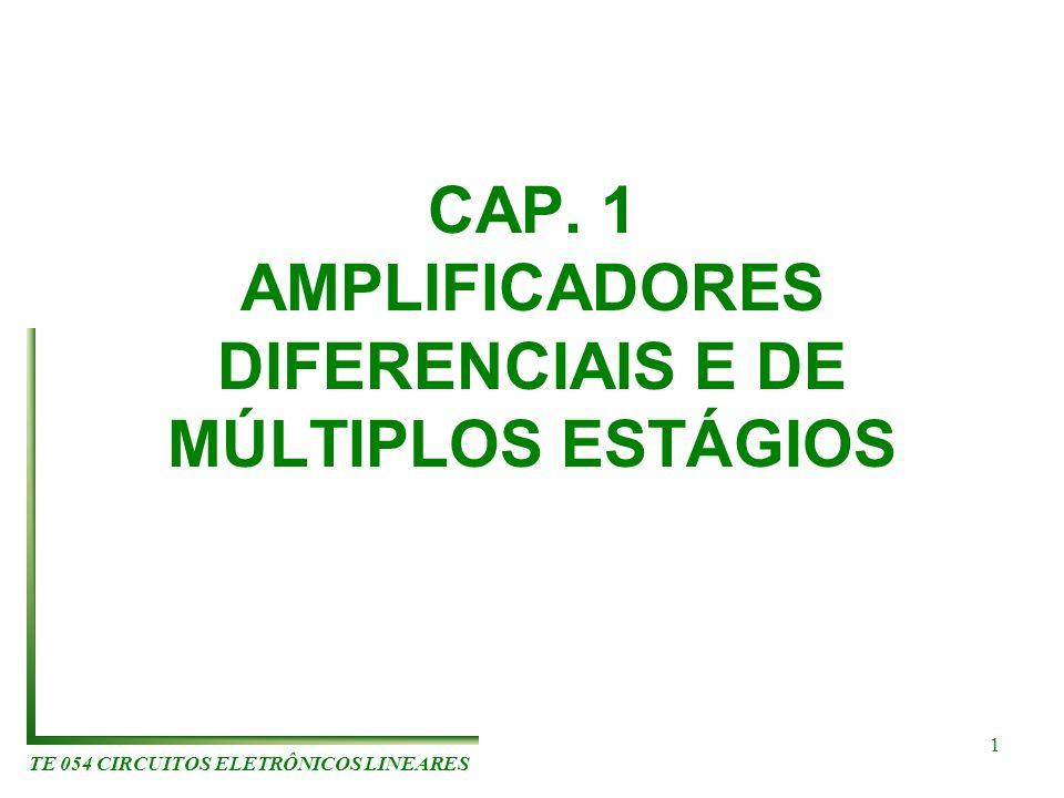TE 054 CIRCUITOS ELETRÔNICOS LINEARES 1 CAP. 1 AMPLIFICADORES DIFERENCIAIS E DE MÚLTIPLOS ESTÁGIOS