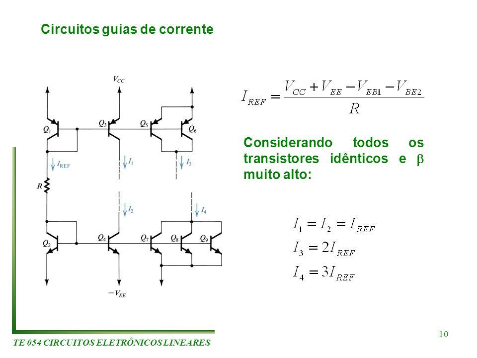 TE 054 CIRCUITOS ELETRÔNICOS LINEARES 10 Circuitos guias de corrente Considerando todos os transistores idênticos e muito alto: