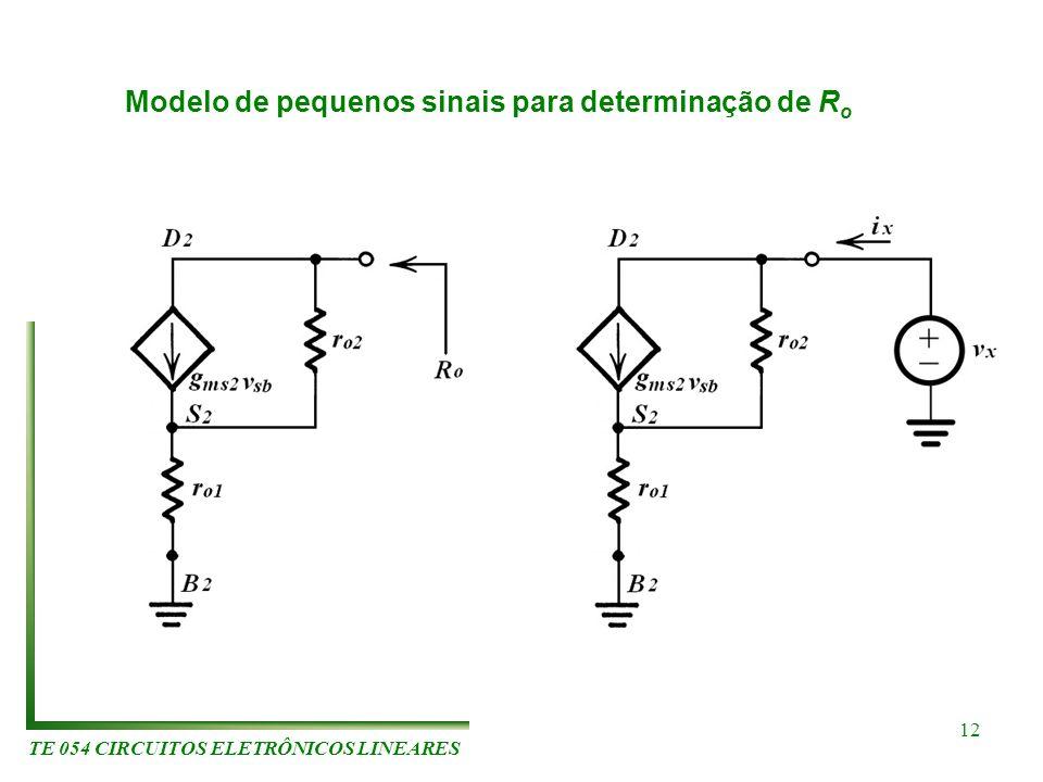 TE 054 CIRCUITOS ELETRÔNICOS LINEARES 12 Modelo de pequenos sinais para determinação de R o