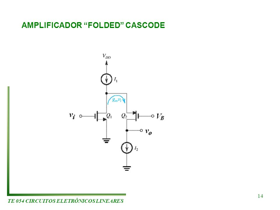 TE 054 CIRCUITOS ELETRÔNICOS LINEARES 14 AMPLIFICADOR FOLDED CASCODE