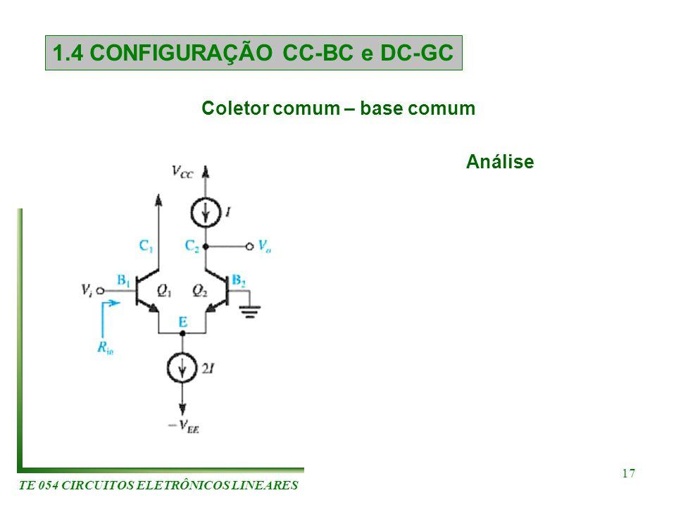 TE 054 CIRCUITOS ELETRÔNICOS LINEARES 17 1.4 CONFIGURAÇÃO CC-BC e DC-GC Análise Coletor comum – base comum