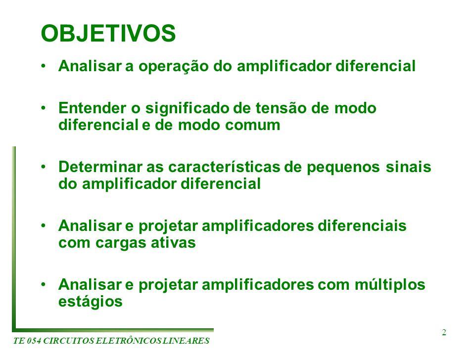 TE 054 CIRCUITOS ELETRÔNICOS LINEARES 2 OBJETIVOS Analisar a operação do amplificador diferencial Entender o significado de tensão de modo diferencial