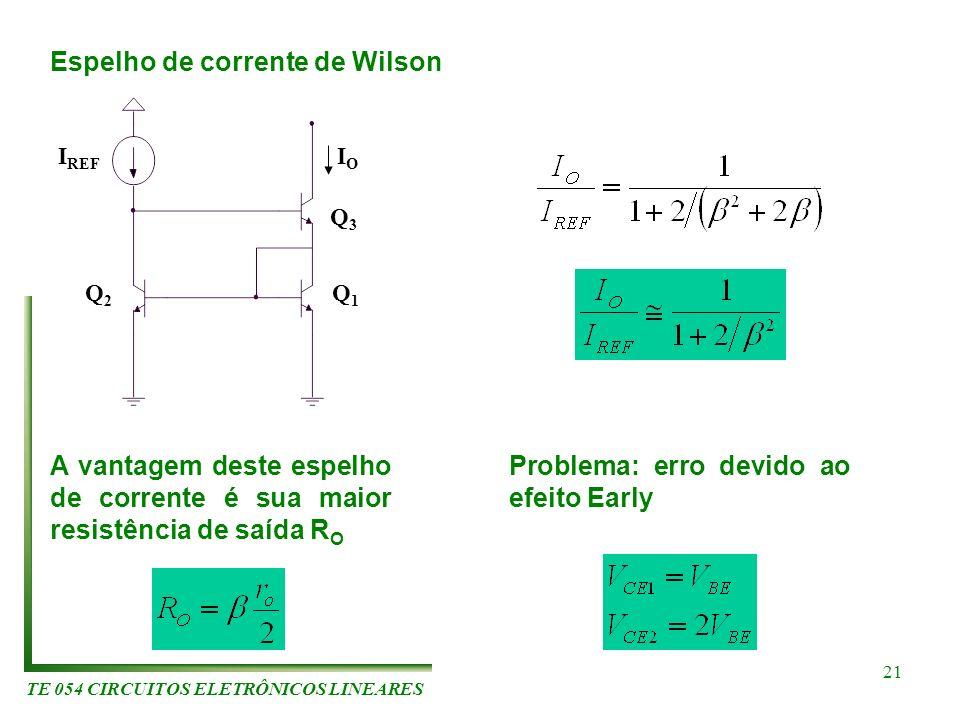 TE 054 CIRCUITOS ELETRÔNICOS LINEARES 21 Espelho de corrente de Wilson Q2Q2 Q1Q1 I REF Q3Q3 IOIO A vantagem deste espelho de corrente é sua maior resi
