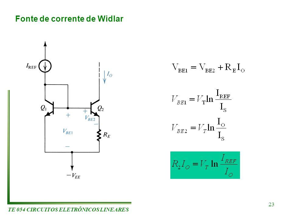 TE 054 CIRCUITOS ELETRÔNICOS LINEARES 23 Fonte de corrente de Widlar