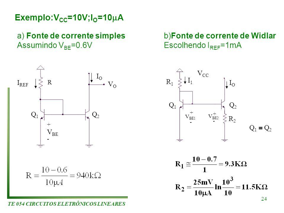 TE 054 CIRCUITOS ELETRÔNICOS LINEARES 24 Exemplo:V CC =10V;I O =10 A a) Fonte de corrente simples Assumindo V BE =0.6V b)Fonte de corrente de Widlar E