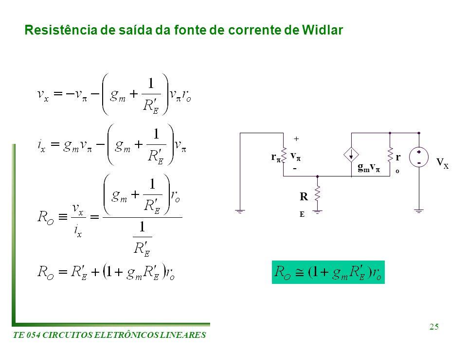 TE 054 CIRCUITOS ELETRÔNICOS LINEARES 25 r v g m v roro RERE + - - vxvx Resistência de saída da fonte de corrente de Widlar