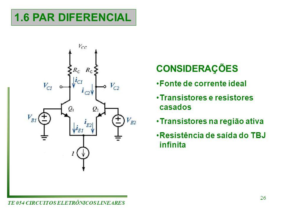 TE 054 CIRCUITOS ELETRÔNICOS LINEARES 26 1.6 PAR DIFERENCIAL CONSIDERAÇÕES Fonte de corrente ideal Transistores e resistores casados Transistores na r