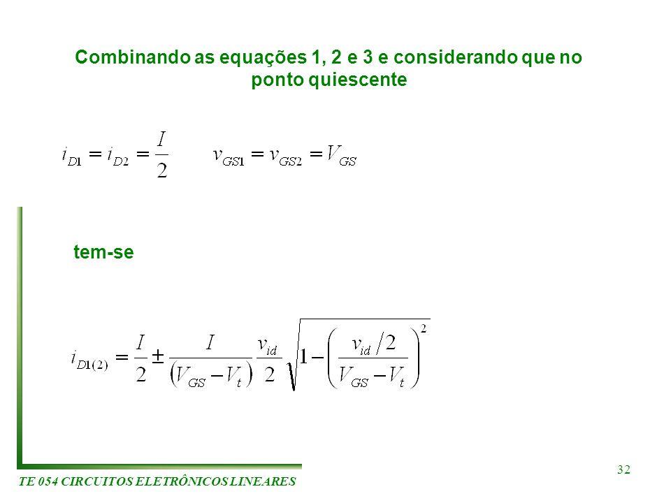 TE 054 CIRCUITOS ELETRÔNICOS LINEARES 32 Combinando as equações 1, 2 e 3 e considerando que no ponto quiescente tem-se