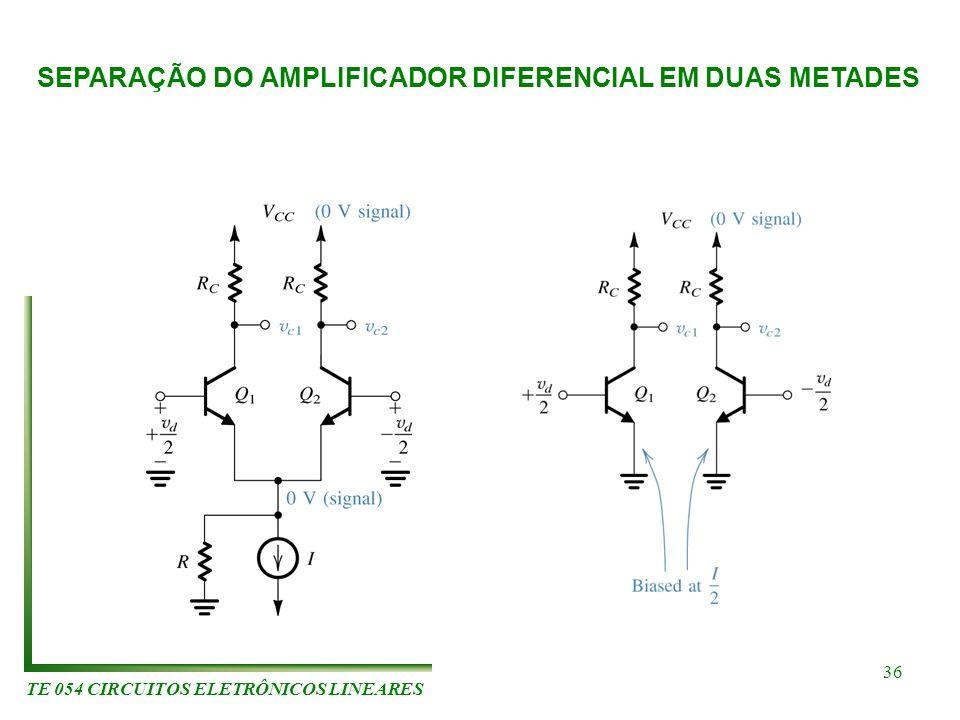TE 054 CIRCUITOS ELETRÔNICOS LINEARES 36 SEPARAÇÃO DO AMPLIFICADOR DIFERENCIAL EM DUAS METADES