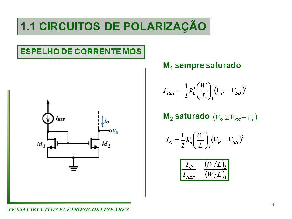 TE 054 CIRCUITOS ELETRÔNICOS LINEARES 4 1.1 CIRCUITOS DE POLARIZAÇÃO ESPELHO DE CORRENTE MOS M 1 sempre saturado M 2 saturado